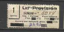 3411-- SELLOS VIÑETAS FISCALES CON 4 SOBRACARGAS EN CATALAN.1941 SEGURO OBRERO..