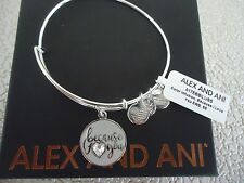 Alex and Ani BECAUSE I LOVE YOU COLOR INFUSION Bangle Silver W/Tag Card & Box