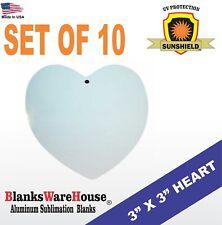 3 X 3 Heart Sublimation Blank Double Sided Ornament Heart Shape 10 Pc