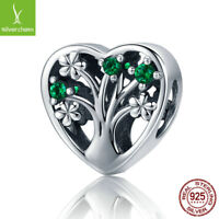 Authentic Silver Tree of Life Heart Green Pave CZ Beads fit silver 925 Bracelets