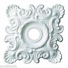"Ceiling Medallion Square 18 inch Primed White D537 big design decorate home 18"""