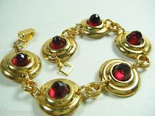 VINTAGE 1930's ART DECO RED STONE BRASS BRACELET OLD STORE STOCK 1 of 7