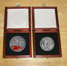 SET OF 2 LENIN SILVER TABLE MEDAL 50 YEARS OF USSR +50 YEARS OF SOVIET AUTHORITY