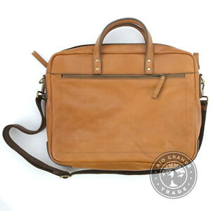 OPEN BOX Fossil Men's Haskell Double Zip Workbag in Tan Leather - One Size