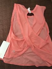 Lululemon FAST AS LIGHT TANK SE FRILLED PEACH CORAL sz 10 NWT