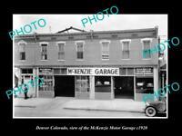 OLD LARGE HISTORIC PHOTO OF DENVER COLORADO THE McKENZIE MOTOR GARAGE c1920