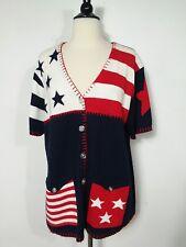 Carolina Colours Plus Cardigan Sweater Patriotic Women's Size 14/16