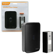 LED Digital Black Wireless Door Chime (Doorbell Alarm Ringer Alert Home Visitor)