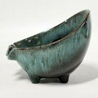 Evangeline Pottery Bowl Ashtray Brown Teal Drip Glaze Canada Vintage