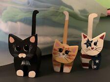 Set Of 3 Wooden Folkart Cats/kittens