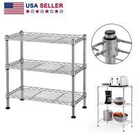 Adjustable 3 Tier Wire Shelving Kitchen Storage Organizer Unit Metal Shelf Rack