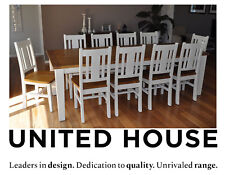 Distressed White Timber Dining Table And 10 Chairs Shabby Chic French Provincial
