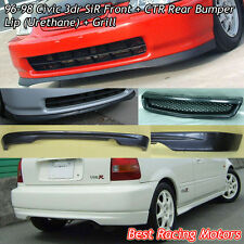 SIR Style Front Lip (PU) + CTR Rear Lip (PU) + Grill (ABS) Fit 96-98 Civic 3dr