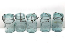 5 Vintage Atlas Canning Jars Pint Aqua Green Glass E-Z Seal #9 + #5 w/ Wire Bale