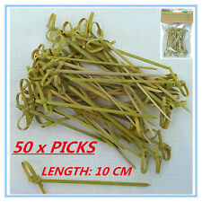 50 x BAMBOO CATERING DISPOSABLE CURLY STYLE PICKS COCKTAIL FINGER FOOD BBQ