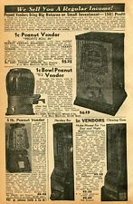 1941 small Print Ad of Peanut Vendor, Hershey Bar & Chewing Gum Vending Machine