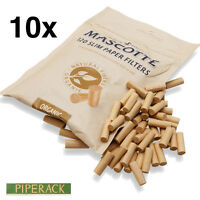 10 Mascotte Unbleached Organic Slim Paper Filters 6mm Diameter X-long 19mm