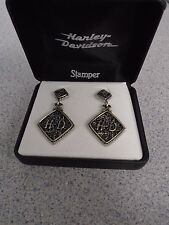 Harley Davidson Women's Etched Dangle Earrings by Stamper