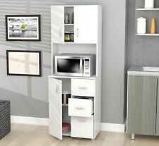 Tall Kitchen Cabinet White Microwave Stand Pantry Storage Corner Utility Cabinet
