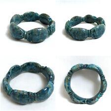 New ListingBlue Scarab Bracelet Egyptian Antique Royal Faience Beetle Amulet Ankh Figurine