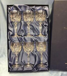 Bohemia Fine Cut Lead Crystal Wine Glasses Set of 6 Boxed & Unused 24%