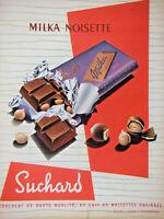 PUBLICITÉ DE PRESSE 1958 CHOCOLAT MILKA NOISETTE DE SUCHARD - ADVERTISING