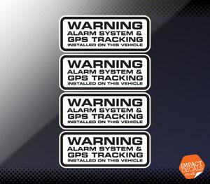 4 X Car Alarm Sticker / GPS Tracker Installed Warning Sticker. Dashcam Decal.