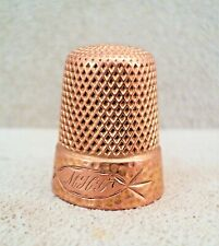 VICTORIAN 14K GOLD Sewing THIMBLE Mono MHG Textured 6.3g HAMMERED Band Sz 7 -Exc