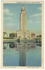 Postcard Baton Rouge LA- State Capitol Reflected in Water- Linen Colortone P1