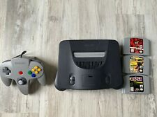 Nintendo 64 Charcoal Grey Console (NTSC) w/ 3 games and all cords