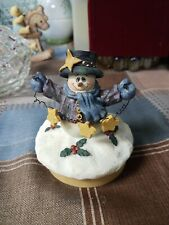 """Crazy Mountain snowman JAR TOPPER CANDLE WITH CORK BOTTOM 2 3/4"""" WIDE"""