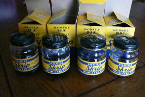Lot 4 Vintage Bottles Sheaffer Skrip Ink Washable Blue #42 Empty w/Boxes