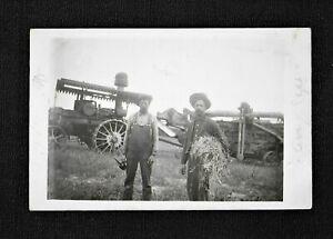 RPPC HARVEY N.D. North Dakota Threshing With Antique Steam Tractor 1911