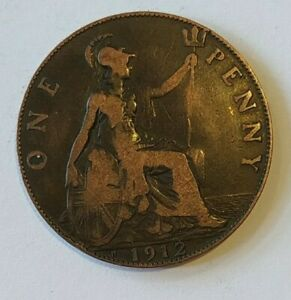 GEORGE V PENNY COIN 1912H HEATON (2)