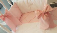 3 Cot Bumper Bows Shabby Chic Baby Pink White, Grey or Blue Modern Vintage Style