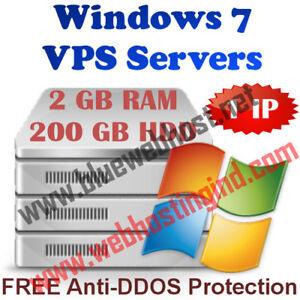 Windows 7 VPS (Virtual Dedicated Server) 2GB RAM + 200GB HDD