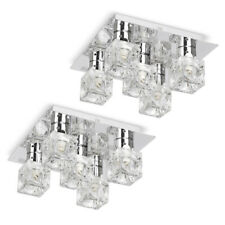 LED Compatible Modern 5 Light Ice Cube Ceiling Light with Chrome Backplate