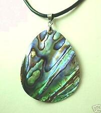 33mm New Zealand Paua Abalone Tear Drop Shell Pendant Leather Necklace 17 3/4""