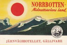A)Original Vintage Luggagelabel HOTEL NORRBOTTEN GÄLLIVARE Kofferaufkleber EB704