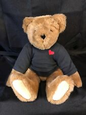 Vermont Teddy Bear Co. Brown Bear Jointed Limbs In Black Shirt With Box Clean
