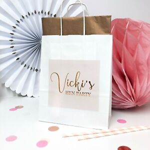 Personalised Hen Party Gift Bag | ROSE PINK | Hen Night Favour Bags Gold