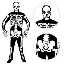 Mens Mr Bones Skeleton Halloween Jumpsuit Costume Mask+Gloves Monster Skull