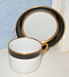 ONE Fitz & Floyd RENAISSANCE Cup and Saucer BLACK on WHITE Gold Trim