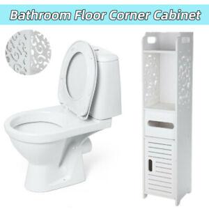 3 Tiers Modern Bathroom Furniture Cabinet Wood Slim Shelf Cupboard Storage Unit