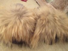 Women's Real Racoon Fur Slide with sherling footbed size 7.5/fits 8 also. NEW!!