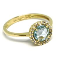 Anillo Oro Amarillo 750 18Ct, Flor, Topacio Azul, Zirconia, Made In Italy