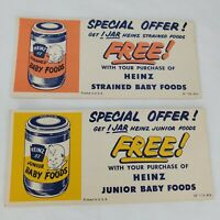 Vintage Heinz 57 Baby Food Coupons Lot Of 2 Special Offer Orange Yellow 50s USA