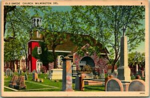 Wilmington, Delaware Postcard OLD SWEDES' CHURCH w/ Cemetery Linen - 1946 Cancel