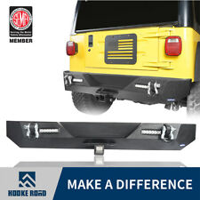 Hooke Road Rear Bumper w/LED Floodlights & D-Rings For 87-06 Jeep Wrangler YJ TJ