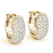3 Carat Diamonds Hoop Huggie 14k Yellow Gold Earrings 5 Row G SI1 Clean Elegant